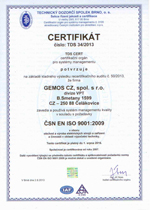 Certificate ČSN ISO 9001 granted to GEMOS CZ company